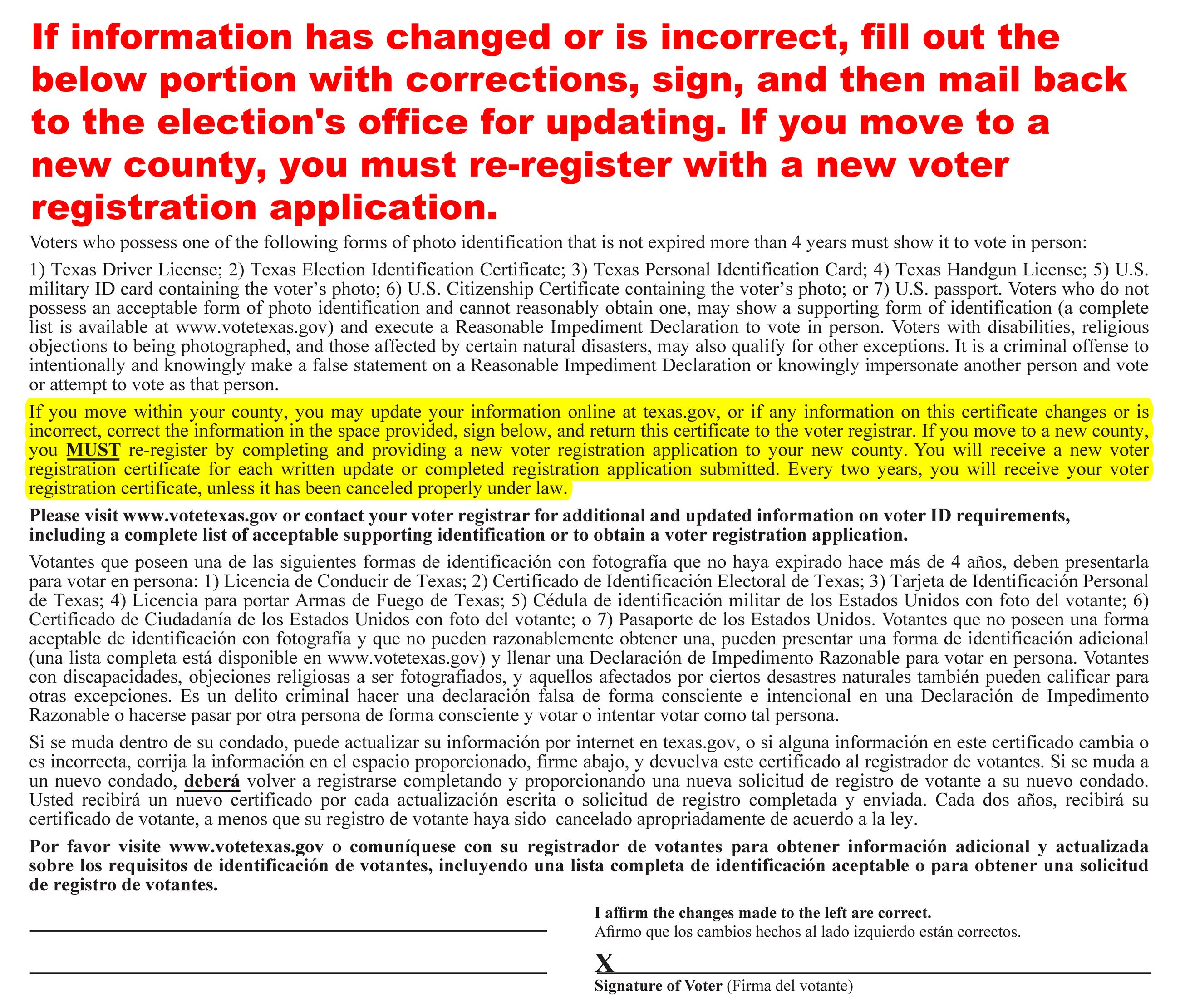 2020 Voter card Change Information